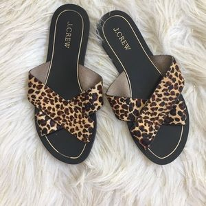 J Crew Cyprus Calf Hair Leopard Slides  Sandals 7